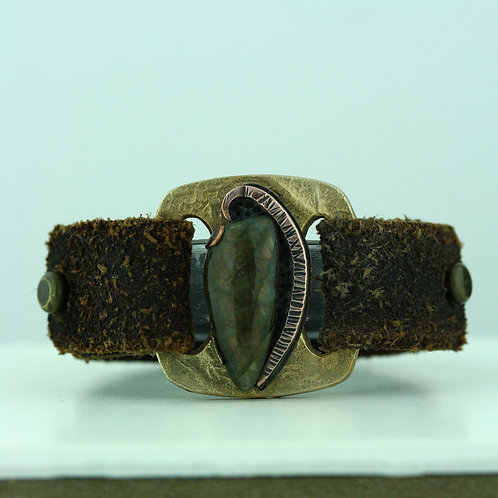 Leather Strap Bracelet with Labradorite