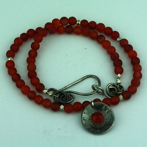 Carnelian Necklace with Silver  Pendant