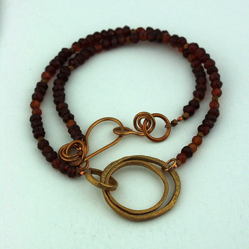 Mixed Garnet and Hessionite Garnet Necklace with Bronze Pendant