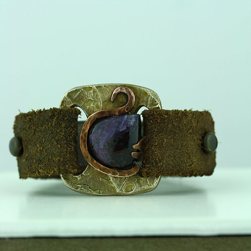 Leather Strap Bracelet with Charoite