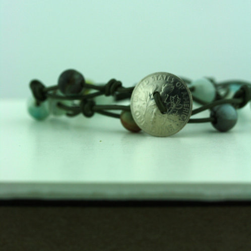 Coin Bracelet with Amazonite Beads