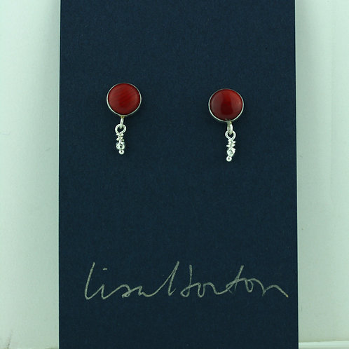 Red Coral with Faceted Silver Drop