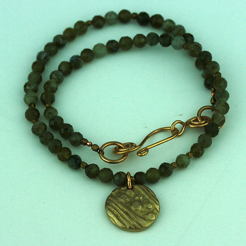 Faceted Green Labradorite with Bronze Pendant