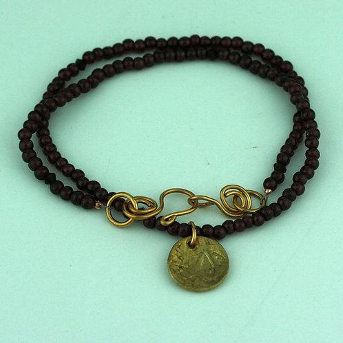Garnet Necklace with Bronze Pendant