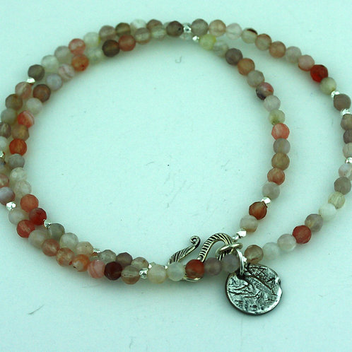 Botswana Agate necklace with Silver Pendant