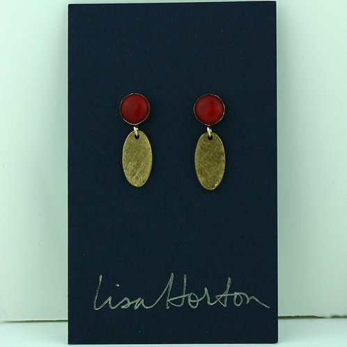 Red Coral with Bronze Drop
