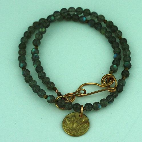 Labradorite Necklace with Bronze Pendant