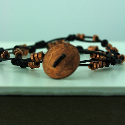 Coin Bracelet with Copper Beads