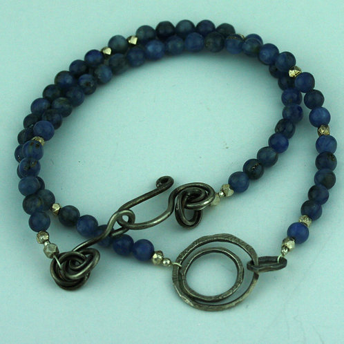 Kyanite Necklace with Silver  Loops Pendant