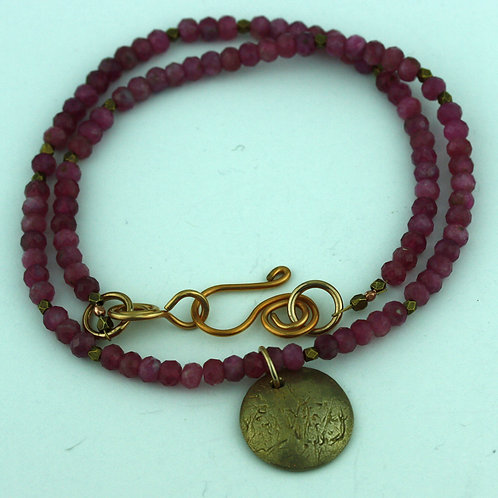 Pink Tourmaline Necklace with Bronze Pendant