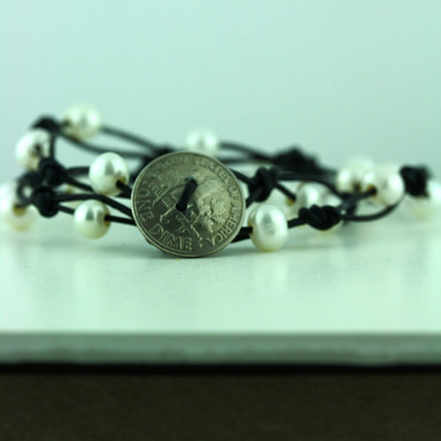 Coin Bracelet with White Pearls