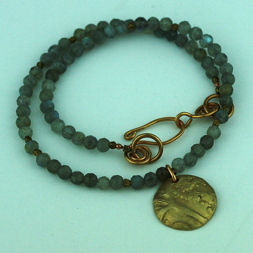 Faceted Labradorite Necklace with Bronze Pendant