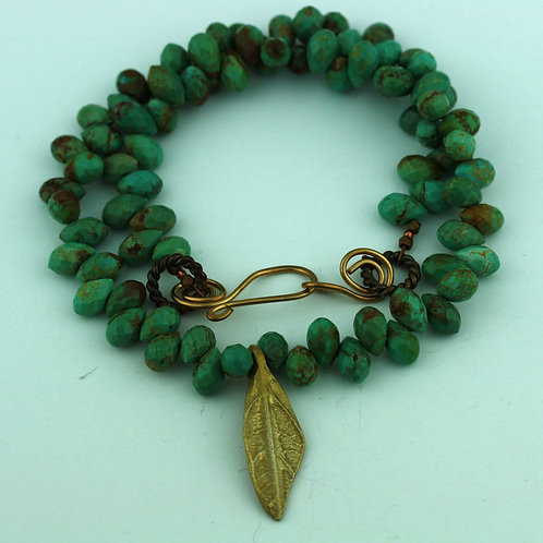 Turquoise Briolette Necklace with Bronze Leaf Pendant