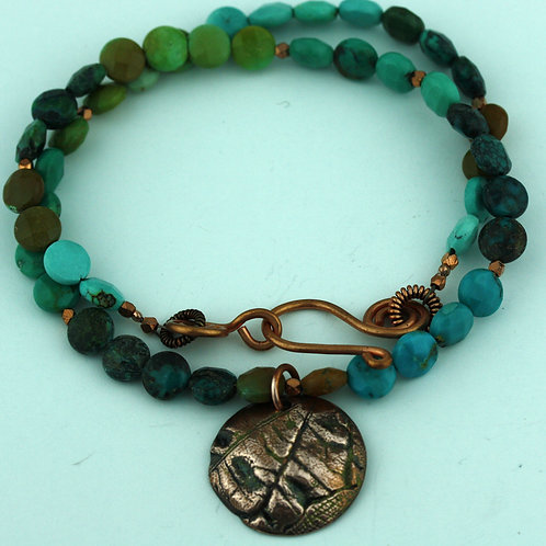 Turquoise Necklace with Copper Pendant