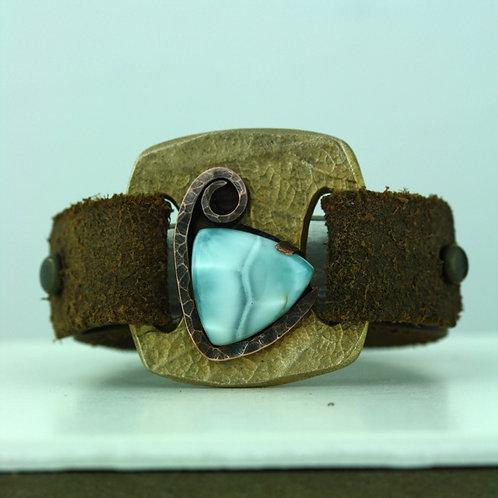 Leather Strap Bracelet with Larimar