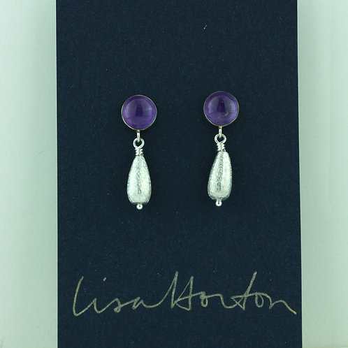 Amethyst with Brushed Silver Drop