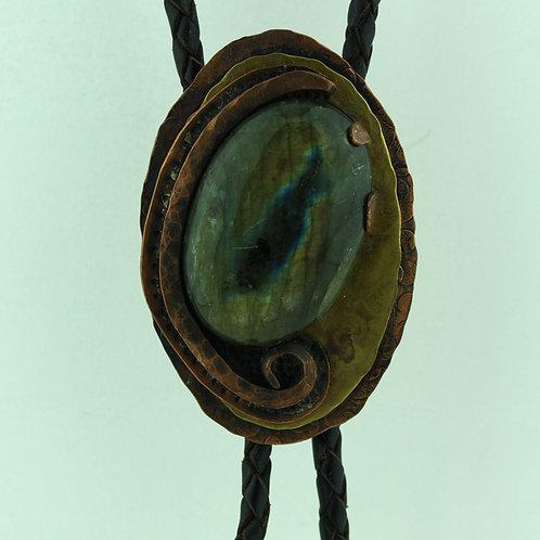 Copper Bolo Tie with Labradorite