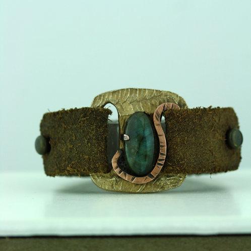 Leather Strap Bracelet with Labradorite