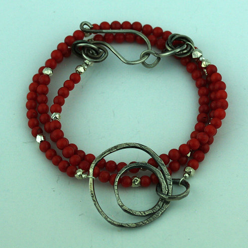 Red Coral Necklace with Silver Loops Pendant