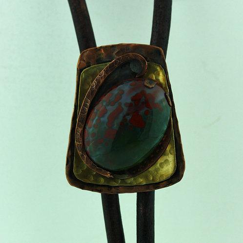 Copper Bolo Tie with Bloodstone Jasper