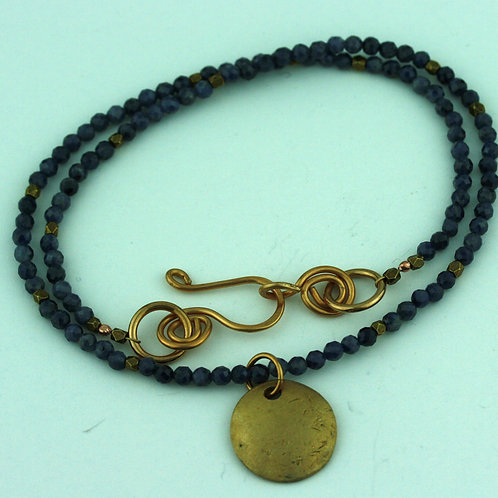 Sapphire Necklace with Bronze Pendant