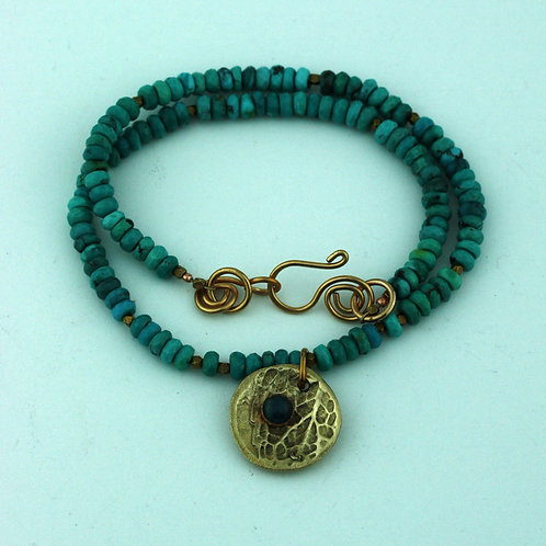 Turquoise Necklace with Bronze Pendant
