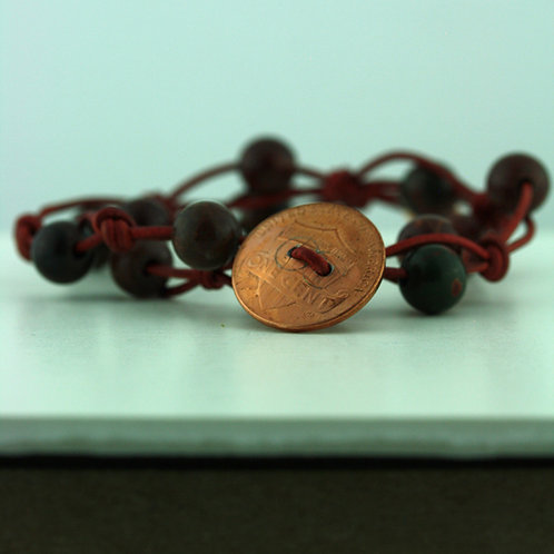 Coin Bracelet with Jasper Beads