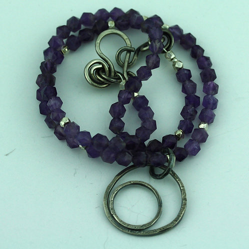 Faceted Amethyst Necklace with Silver Loops Pendant