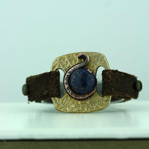 Leather Strap Bracelet with Sodalite