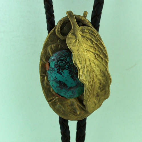 Bronze Bolo Tie with Chrysocolla