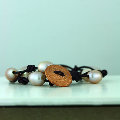 Coin Bracelet with Pink Pearls