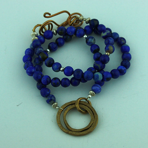 Lapis Lazuli Necklace with Bronze Loops Pendant