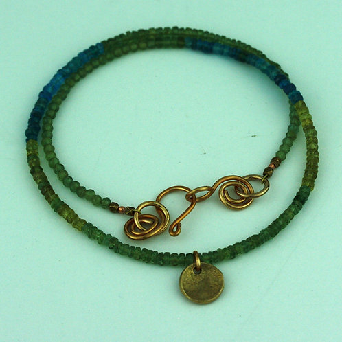 Faceted Apatite Necklace with Bronze Pendant