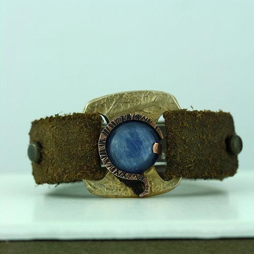 Leather Strap Bracelet with Kyanite