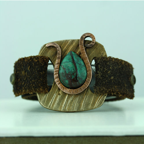 Leather Strap Bracelet with Turquoise