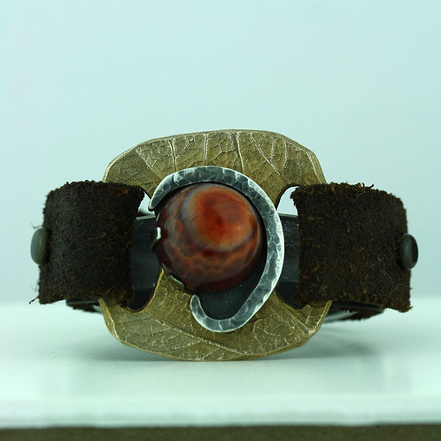 Leather Strap Bracelet with Fire Agate