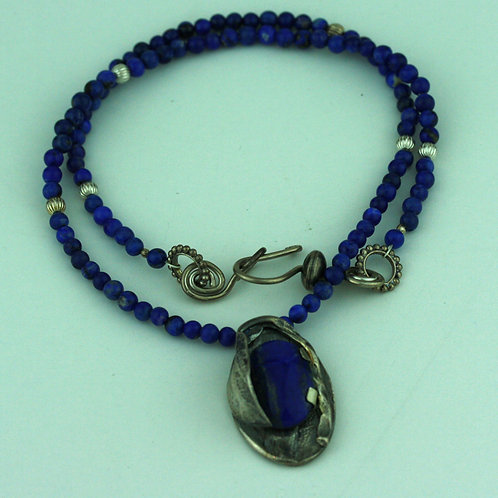 Lapis Lazuli Necklace with Silver  Leaf Pendant