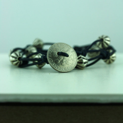 Coin Bracelet with Silver Beads