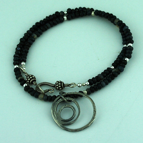 Black Agate Necklace with Silver Loops Pendant