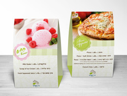 pizza & ice cream menu