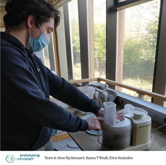 Here you can see Arne in the IDC shredding the shells with a blender from the bio-lab. Ideally we would want to use a coffee grinder but for now we hammered the shells, then used the blender as shown and proceeded to sift the material to get a finer powder.     #IDC #Bio-lab #Hammer #Blender #Sift