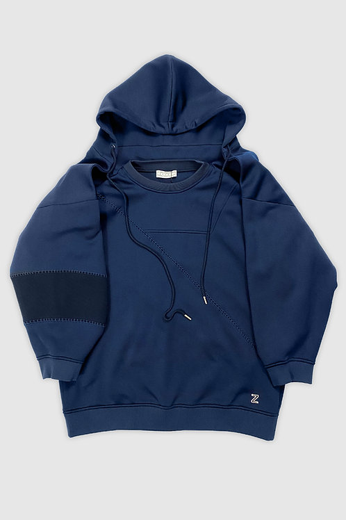 Hooded Crewneck Sweater in Blue