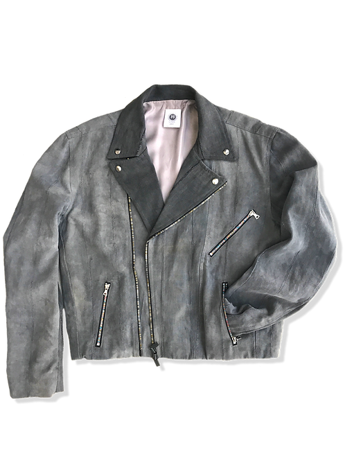 Gray Denim Bike Jacket