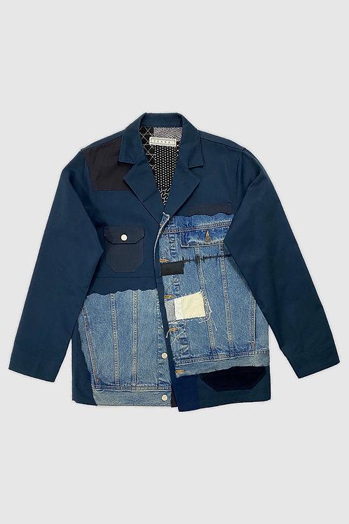 Denim Patchwork Blazer in Blue