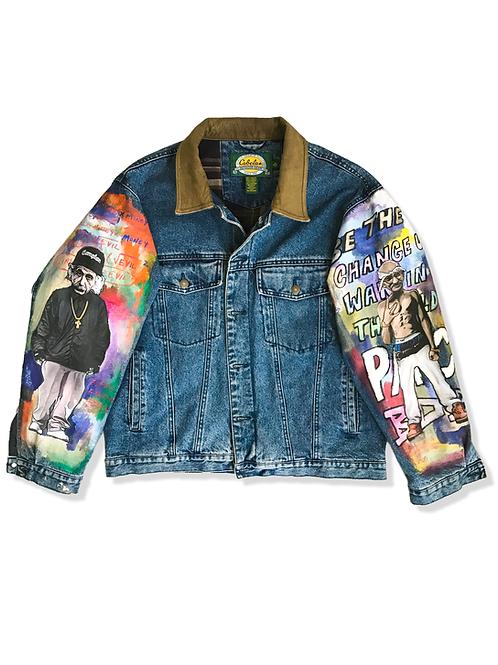 'Easy-Einstein & Ghandi Shakur' Denim Jacket