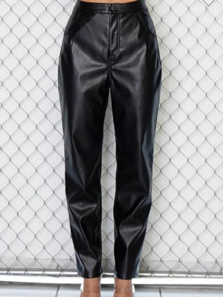 YASMENE | Cross Chain Leather Pants