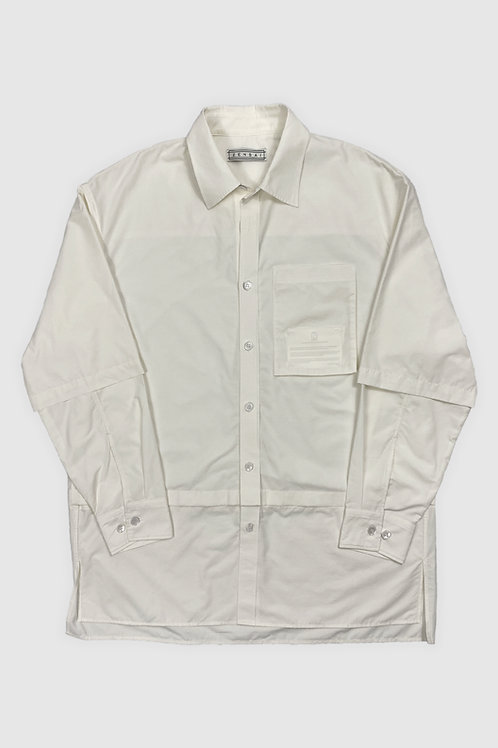 Layered Sleeve Button-Up in Off-White