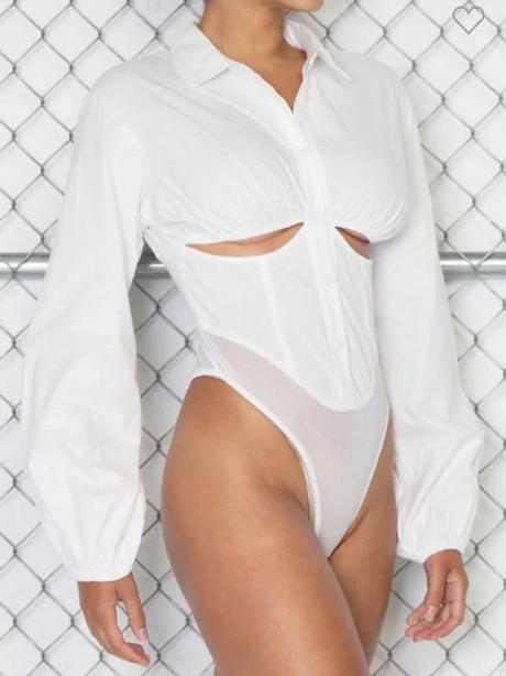 SOHO   Cutout Button-Up Bodysuit