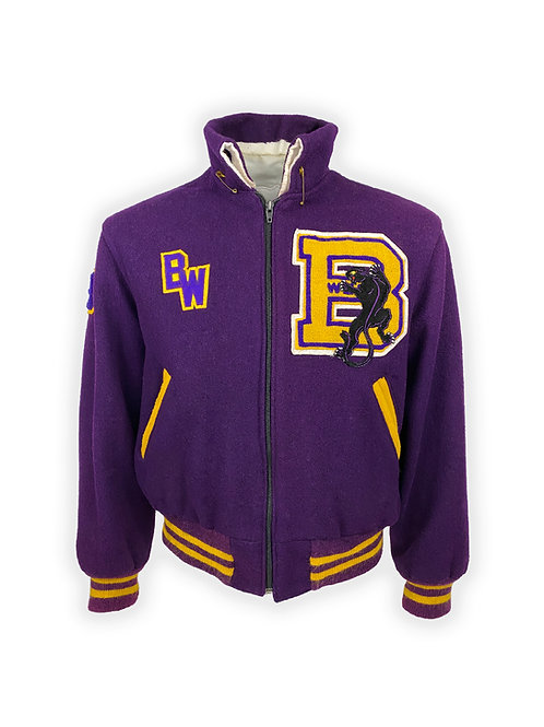 Black Power Collegiate Jacket in Purple