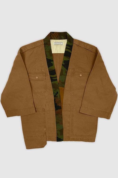 Denim Camo Kimono Jacket in  Brown